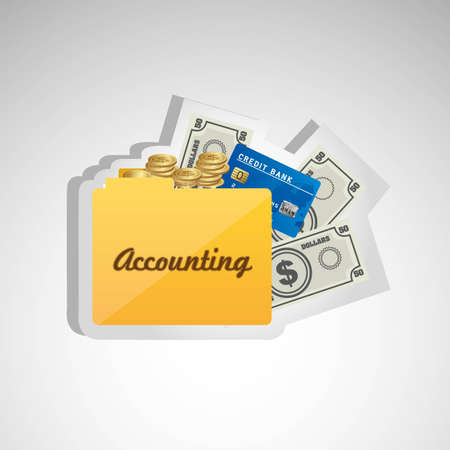 icon of accounting, credit card folder, banknotes and coins, for accounting and finance icon.  Vector