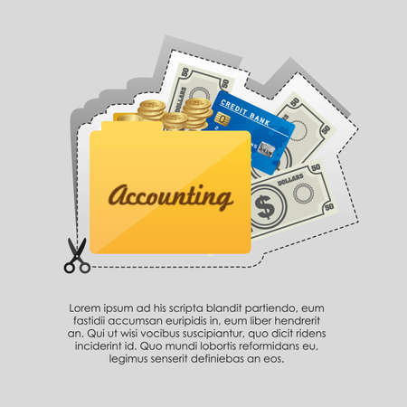Label with cut lines and an icon of accounting Vector