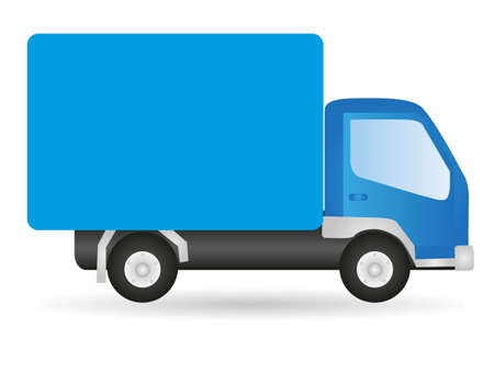 delivery driver: Vector illustration truck, isolated on white background