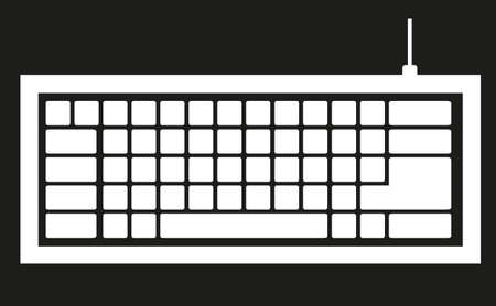 computer keyboard silhouette isolated on black background, Stock Vector - 14040806
