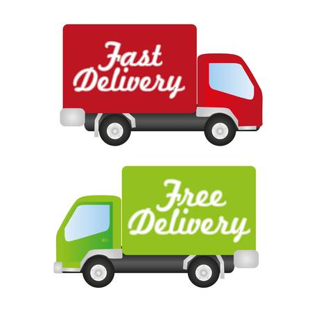 delivery driver: truck fast and free delivery, Illustration