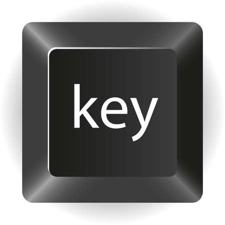 computer black key, isolated on white background, Vector