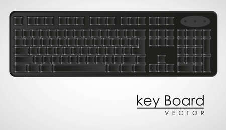 computer keyboard to black with white letters,  Vector