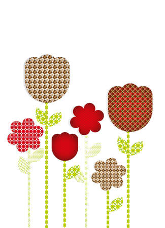 cuttings: Flowers cut with different patterns, vector illustration