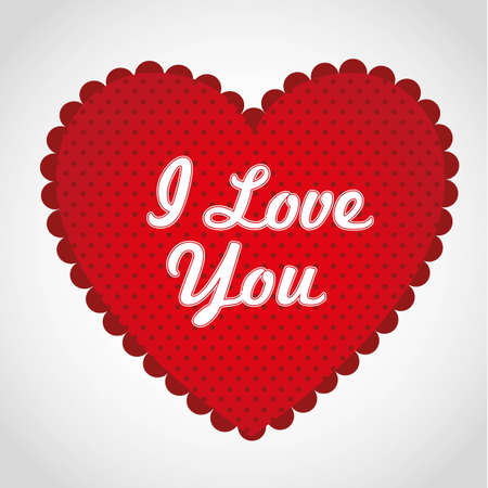 Red heart with dots in the background, with red border, vector illustration Vector