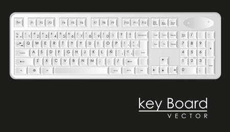 computer keyboard to white with black letters Stock Vector - 14040872