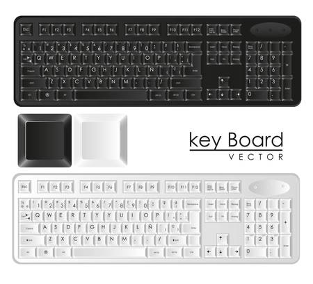 hardware tools: computer keyboards black and white with keys, vector illustration Illustration