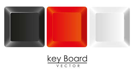 group of keys in three colors, white, black and red, Stock Vector - 14040863