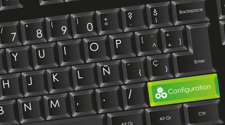 conceptual black keyboard with letters in white with green configuration button,  Stock Vector - 14040868