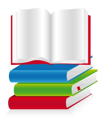 boeken gestapeld op elkaar, en een open.