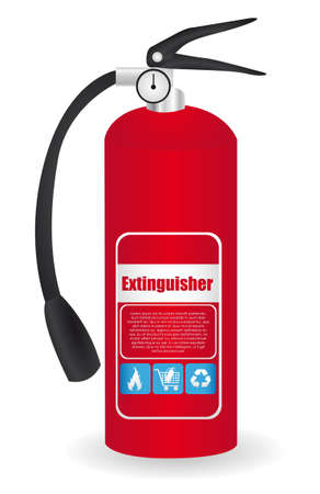 detachment: fire extinguisher red, isolated on white background.