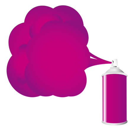 Purple spray bottle with gas cloud Vector