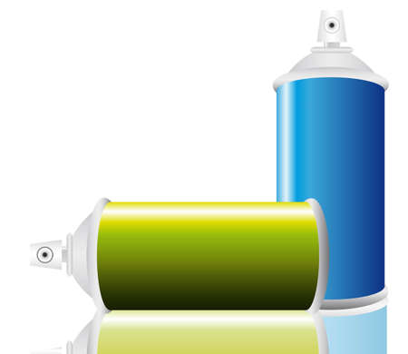 Spray bottle of blue and green.  Vector