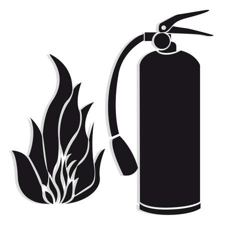 inflammable: Silhouette of fire extinguisher with flare, isolate on white background. Illustration