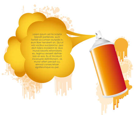 Orange spray bottle with gas cloud and text Vector