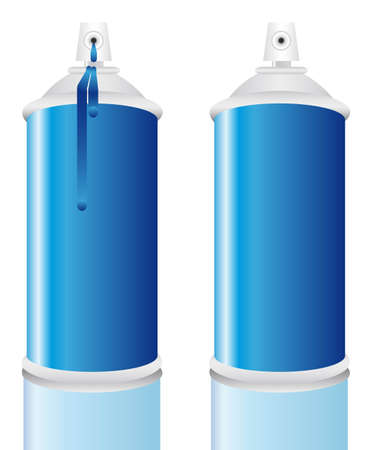 hairspray: Botella de spray de pintura azul, regado y limpio