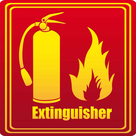 detachment: Silhouette of fire extinguisher with flare, red background.