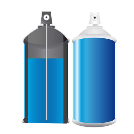 spray can: Spray bottle blue, open half to analyze content and normal.  Illustration