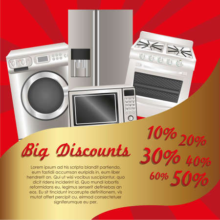 flyer discount appliances, contains washing machine, stove, microwave and refrigerator Vector