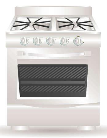 Ilustración de una estufa, aisladas sobre fondo blanco