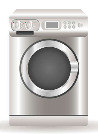 electrical appliance: Illustration of a washing machine, isolated on white background