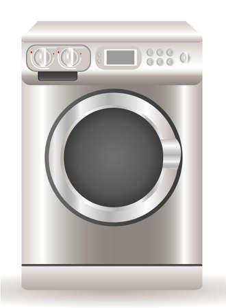 clothes washer: Ilustraci�n de una lavadora, aislados en fondo blanco