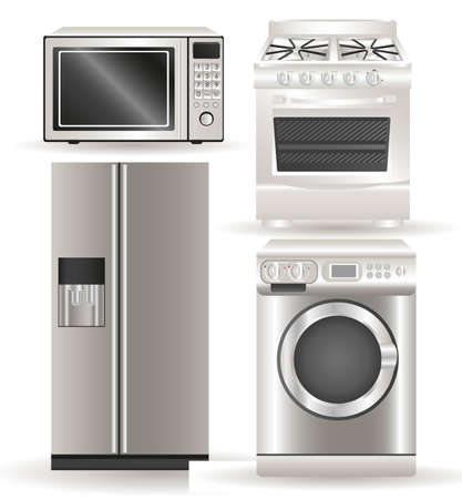 kitchen appliances: Appliances, contains washing machine, stove, microwave and refrigerator Illustration