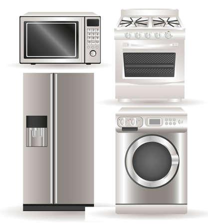 Toestellen, bevat wasmachine, gasfornuis, magnetron en koelkast Vector Illustratie