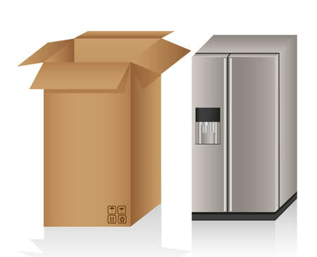 Illustration of a refrigerator ans a box, isolated on white background Vector
