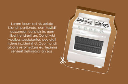 Illustration of a stove label, on brown background Vector