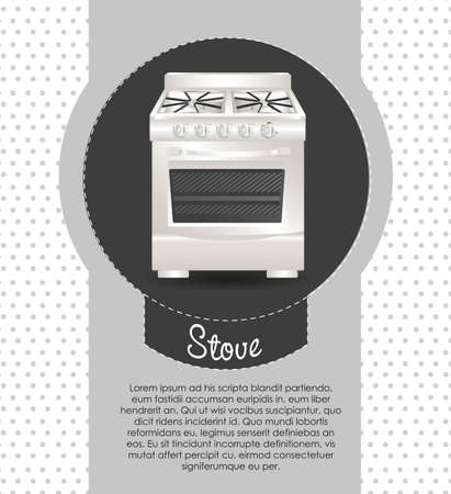 Illustration of a stove, on dots background Vector Illustration