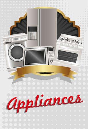 cocina limpieza: aparatos de viajero, contiene lavadora, estufa, microondas y nevera Vectores