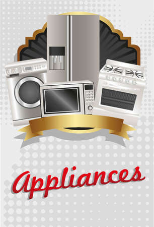 microwave ovens: flyer appliances, contains washing machine, stove, microwave and refrigerator Illustration