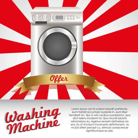 Illustration of a washing machine, isolated on white background Vektorové ilustrace