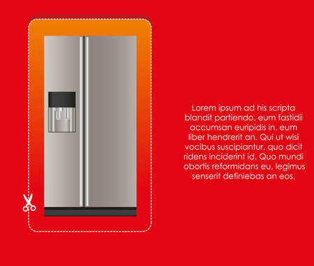 Illustration of a refrigerator label, on red background Stock Vector - 14083064