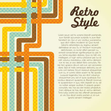Vintage illustration with  lines formed by colored squares