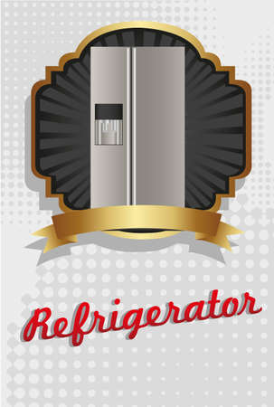 Illustration of a refrigerator, on black and gold label Vector