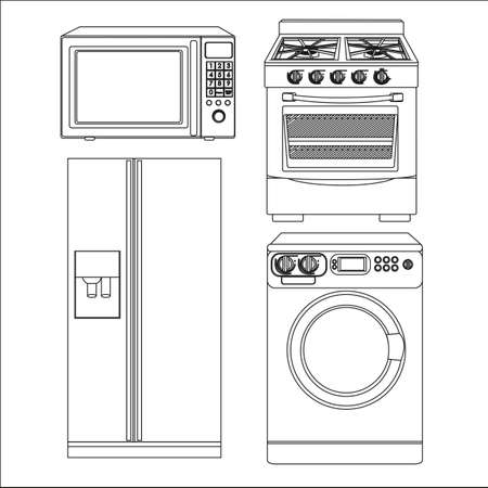 steam cooker: Set of Appliances, contains washing machine, stove, microwave and refrigerator