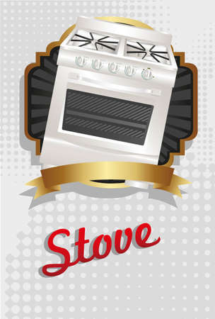 Illustration of a stove, on gold and black label Vector
