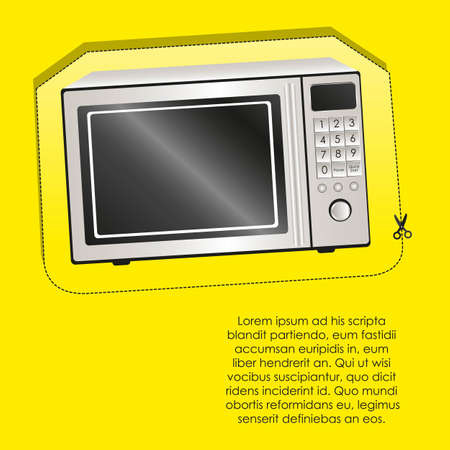 Illustration of a microwave, isolated on yellow background Vector