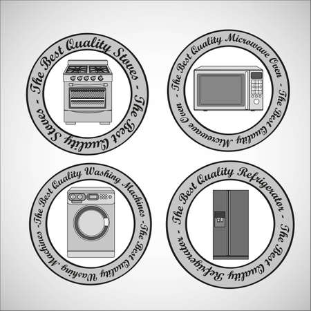 Set of Appliances, contains washing machine, stove, microwave and refrigerator Vector