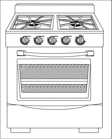 Illustration of a stove, isolated on white background
