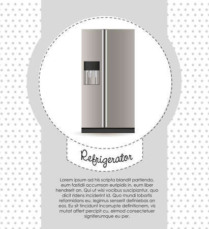 Illustration of a refrigerator,  on dots background Vector