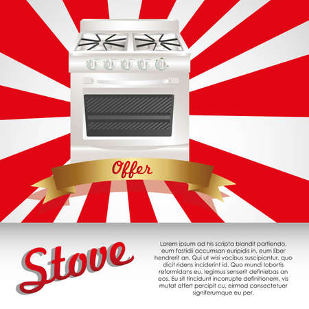 Illustration of a stove, on white and reed background Vector