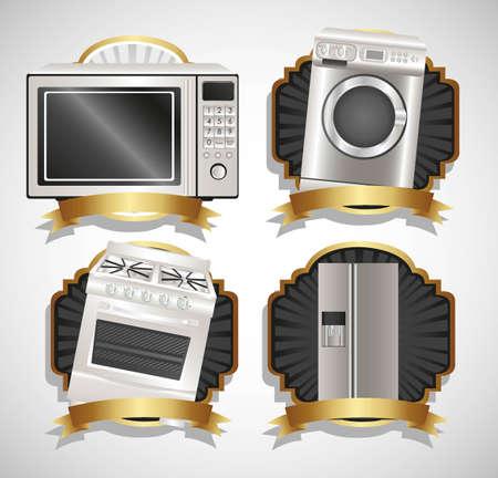 geladeira: Conjunto de aparelhos, cont�m m�quina de lavar roupa, fog�o, microondas e geladeira Ilustra��o