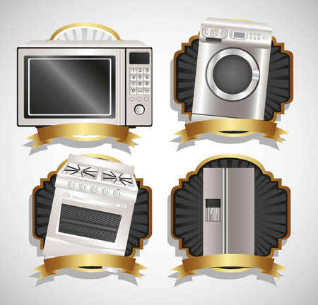 washing symbol: Set of Appliances, contains washing machine, stove, microwave and refrigerator