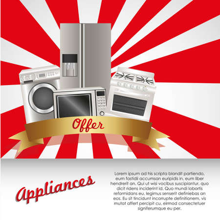 Set of Appliances, contains washing machine, stove, microwave and refrigerator Stock Vector - 14083203