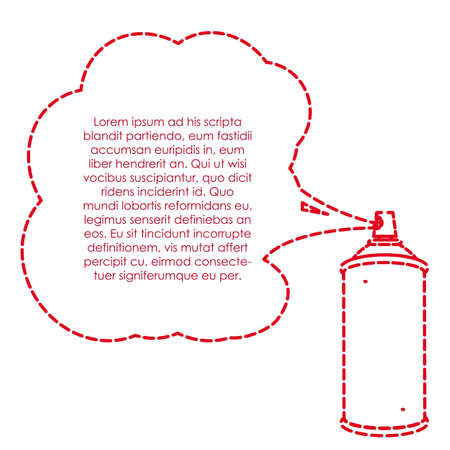 aerosol can: spray bottle lines with gas cloud and text Illustration