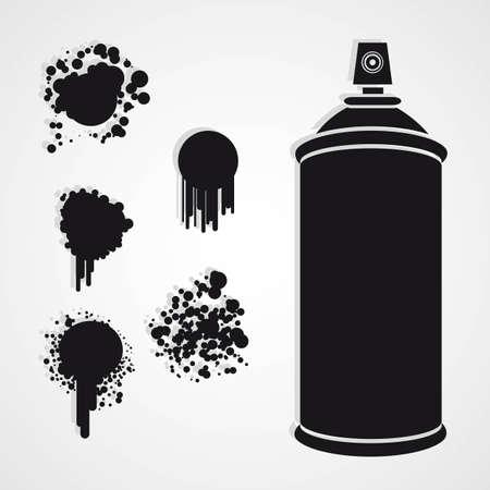 spr�hflasche: Silhouette Spr�hflasche mit Farbflecken Illustration