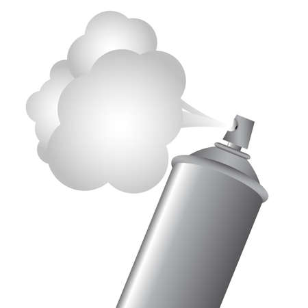 Gray spray bottle with gas cloud Vector